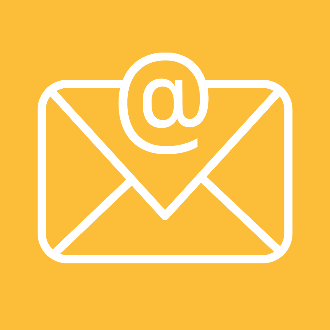White email clipart on a yellow background